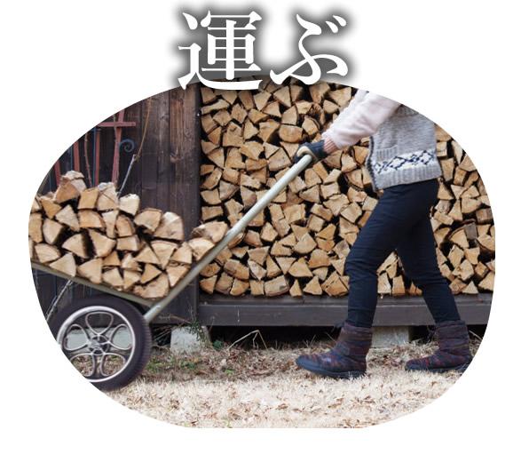 人が薪を台車を使って運んでいる写真。見出しには運ぶと書かれている。