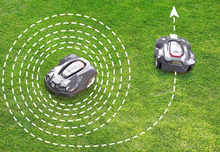 ロボット芝刈機Automower430がスパイラル状に回りながら草刈りを行っている様子。